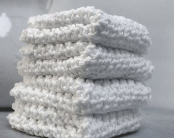 Hand Knitted Washcloths, Set of 4 at Bargain price of 14.49