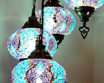 Turkish lamp,Lampshade,Chandeliers ,Turkish Chandeliers,Mosaic Lamp ,Spiral 7 mosaic globes