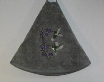 Embroidered Towel - Hummingbirds