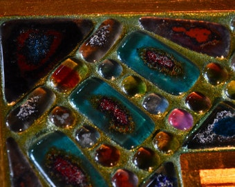 Mosaic mirror with fused glass,