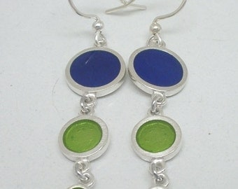 Bubbles and Dots 3 Dot Earrings - Sterling Silver, Resin