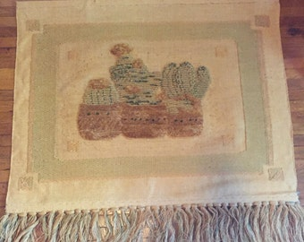 Vintage Hand Woven Burlap Tapestry