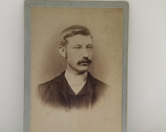 black and white photo - cardboard cabinet card - vintage portrait photograph - mustachioed gentleman - hudson valley hipster - albany ny