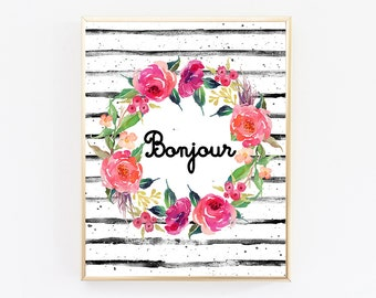 Bonjour Sign, Bonjour Print, French Poster, French Decor, French Wall Art, French Wall Decor, French Art Print, Digital Designs, Nursery