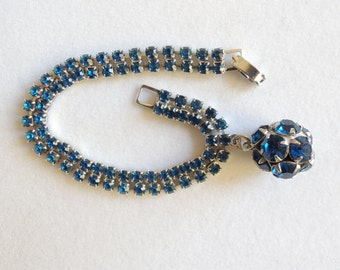 Blue Rhinestone Bracelet With Charm 1950s Designer Signed Weiss