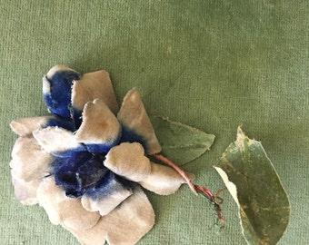 Lovely Old Vintage Faded Velvet blue gray millinery rose flower with bud