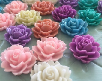 38 pc colorful asst. of floral, resin cabochons