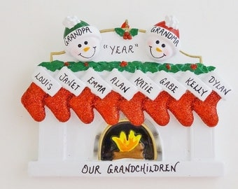 Personalized Family of 10 Fireplace Christmas Ornament