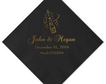 New Years Eve/Winter Personalized Wedding Napkins