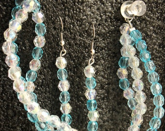 Light Blue and White Earrings & Bracelet Combo