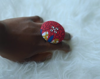 Red African print swarovski ring