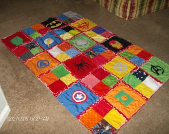 Superhero Super Hero Rag Quilt Comic Cotton and Minky Chenille Applique LAP Size Blanket Custom Made