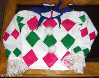 Chistmas Charlie In A The Box Halloween Costume Jester Clown Shirt Top Harlequin