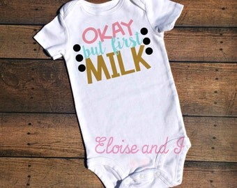 baby girl take home outfit, baby girl clothes, toddler girl outfit, cute baby clothes, newborn outfit, baby shower gift,ok but first milk