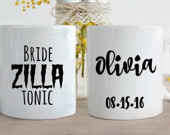 Doublesided Custom Bride Zilla Tonic Coffee Mug, Bride Mug, Wedding Coffee Cup