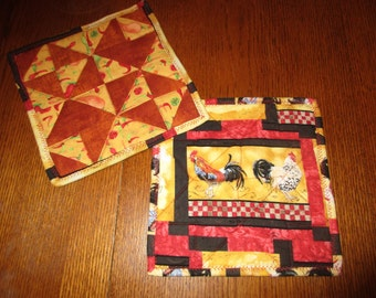 Quilted Southwestern Peppers/Roosters Trivet/Potholders