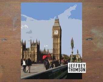 8x10 'Big Ben, London' Graphic Landscape Print - DIGITAL DOWNLOAD
