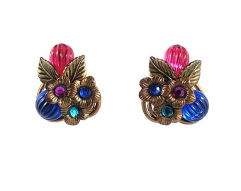 French Vintage colourful flower motif clip-on earrings c. 1950's