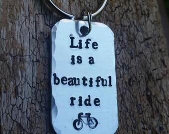Bike. Bike keychain. Bike accessories.  Ride. Bike gift.  Life is a beautiful ride.