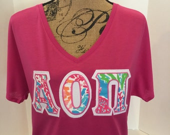 bella loose and flowy greek letter shirt any letters lilly pulitzer fabric stitched on v neck t shirt