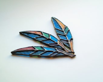 Stained glass feather pendant 4.5 inches boho style