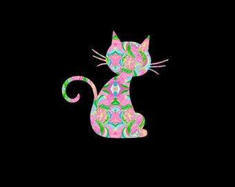 Cat, Kitty, Kitten Preppy Print Inspired Decal, Car Decal, Pattern Feline, Vinyl Decal