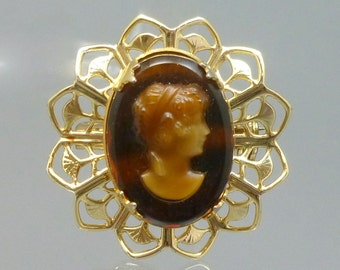 Vintage Faux Tortoise Shell Glass Cameo Gold Tone Brooch Pin