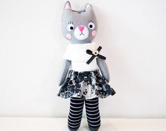 Grey Cat Handmade Cloth Doll, Child friendly Felt Doll, Cloth Fabric Doll, Art Rag Doll, Unique Stuffed Felt Toy, Soft Cat Plush, Girls Doll