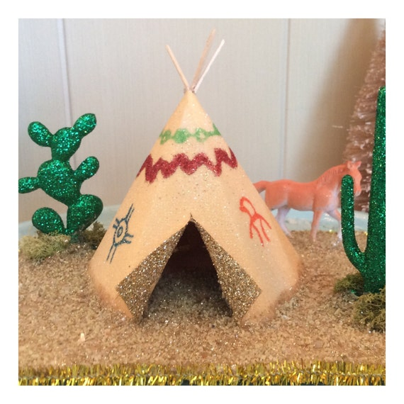 Miniature western retro style Putz style glitter house paper teepee