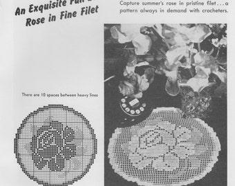 Summer Rose Filet Crochet Doily Pattern