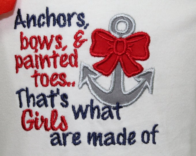 Girl Nautical Tank top, Baby girl nautical shirt, Toddler girl nautical tank top, Anchor applique shirt, girl 4th of July shirt, Navy Anchor