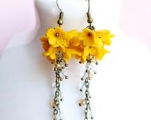 Yellow Cluster Earrings Long Flower Clusters Flower Jewelry Handmade Jewelry Floral Earrings Yellow Flowers Polymer Jewelry Crystal Earrings