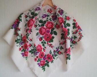 Festival Russian floral shawl, Russian shawl, Pavlovo Posad floral shawl, folk russian scarf