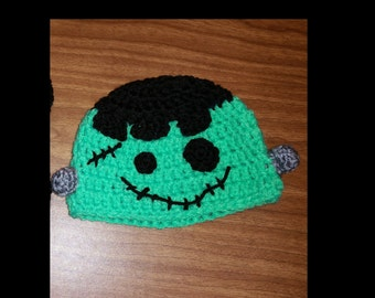 Crochet 0-3 month Frankenstein hat