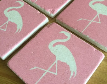 Tile Coasters - Pink Flamingoes