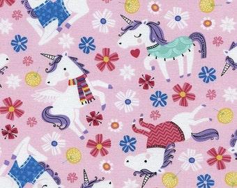Unicorns - SALE 8.99 YARD - Unicorns in Sweaters by Timeless Treasures Unicorns Pink - Fabric Sale