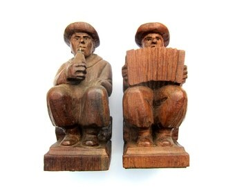 Hand-Carved Brazilian Mahogany Musician Bookends