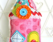 FABRIC House Hanging Decoration / Home Sweet Home / Door Hanger / House Warming Gift / Shelf Sitter / New Home Gift / Fabric Home