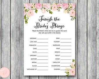 Pink Finish the Bride's phrase game, Complete the phrase , Bridal shower game, Bridal shower activity, Printable Game WD67 TH13