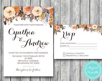 Fall autumn wedding invitations | Etsy UK