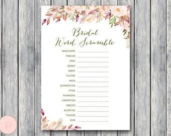 Boho Floral Bridal Word Scramble Bridal Shower Game, Bridal shower game, Bridal shower activity, Printable Game wd85 TH46