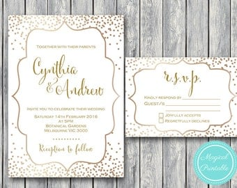 Gold Wedding Invitation Set, Wedding Invitation Printable, Gold Sprinkle Engagement Party Invitation, Wedding Invitation Suite wd93 WI33