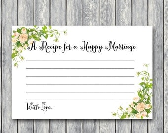 A Recipe for a Happy Marriage Printable Card, Bridal shower game, Bridal shower activity, Printable Game TH01