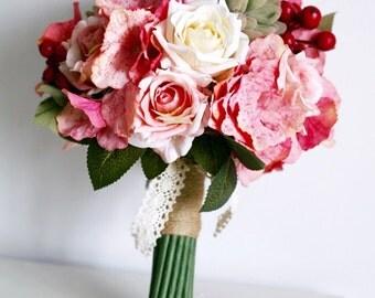Handmade Natural Wedding real to touch Bouquet- Bridal Bridesmaid Bouquet, Rustic Wedding, Alternative Bouquet, Keepsake Bouquet