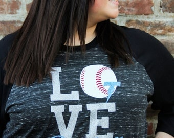 Glitter LOVE Baseball Tee- Baseball Mom, Baller Mom, Local Sports, Baseball, Personalized, Sports, Sporty Mom