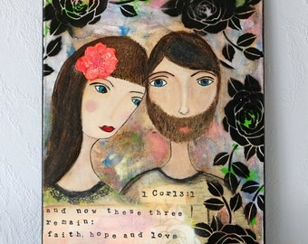Original acryl painting on canvas, fine art bible collage, wall art, modern painting portrait, typography, quote wedding, marriage, love art
