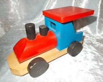 Vintage wooden toy train - steamengine - locomotive.