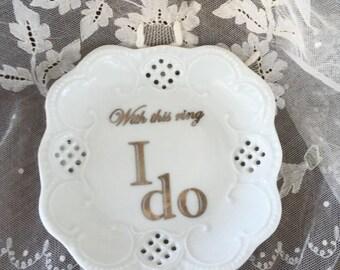 "Lacey Square Mini Tray- ""I Do"""