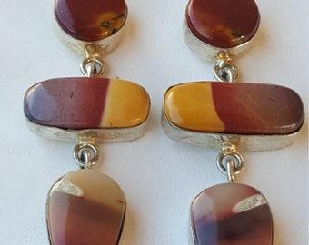 Sterling Silver Mookaite Semi Prescious Stone Earrings