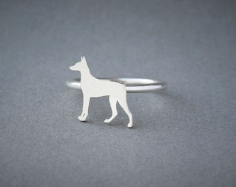 DOBERMAN RING / Doberman Ring / Silver Dog Ring / Dog Breed Ring / Silver, Gold Plated or Rose Plated.